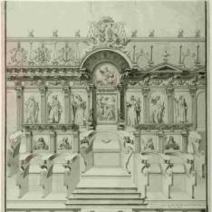 Testero de la sillería de coro de la catedral de Lugo