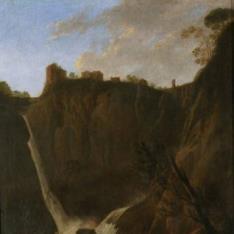 Vista de la cascada de Tívoli con pescadores