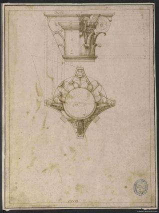 Alzado y planta del capitel compuesto