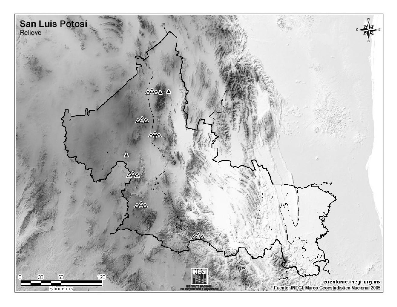 Mapa mudo de montañas de San Luis Potosí. INEGI de México