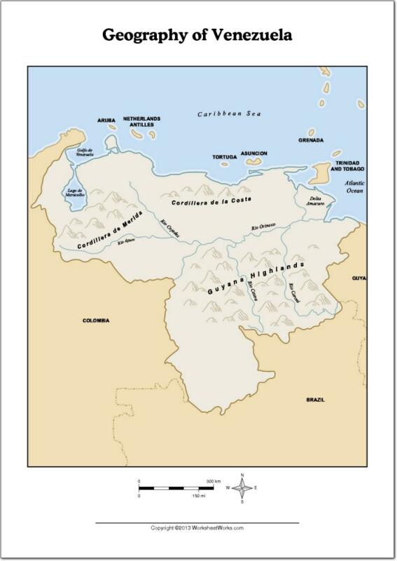Mapa de ríos y montañas de Venezuela. WorksheetWorks