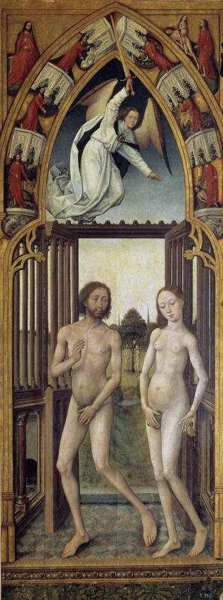 Tríptico de la Redención: Adán y Eva expulsados del Paraíso