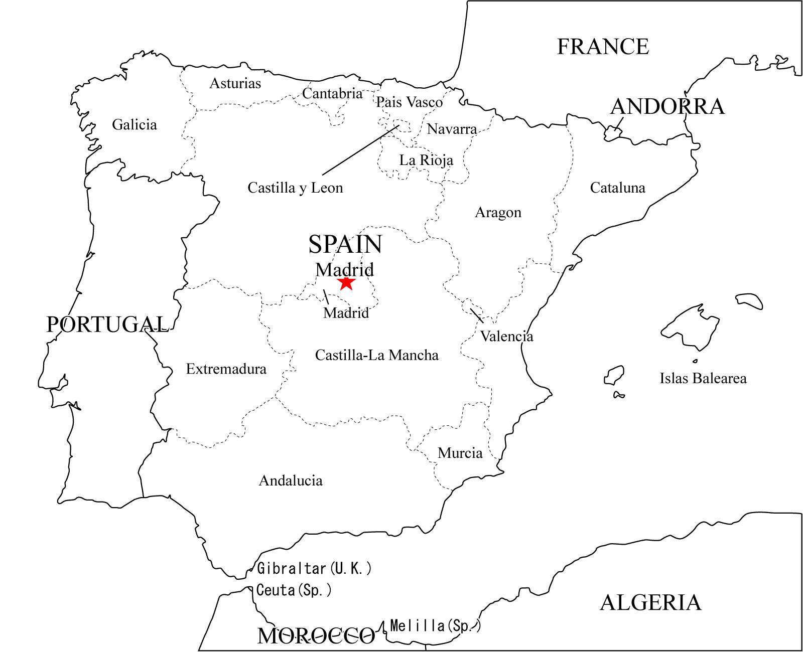Mapa político de España para imprimir Mapa de comunidades