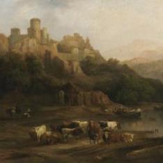 Manada de toros junto a un río , al pie de un castillo