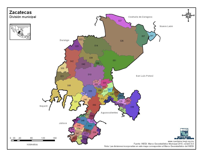 Mapa en color de los municipios de Zacatecas. INEGI de México