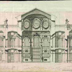 Sección transversal del proyecto de Filippo Juvarra para la escalera del Palacio Real de Madrid