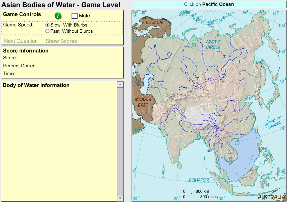 Oceans and lakes of Asia. Game. Sheppard Software