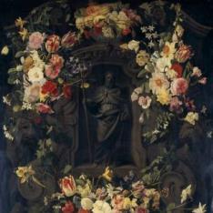 San Felipe en hornacina rodeada de flores
