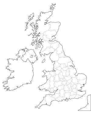 Mapa de condados ceremoniales de Reino Unido. Freemap
