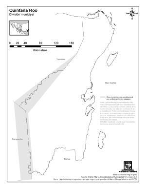 Mapa mudo de Quintana Roo. INEGI de México
