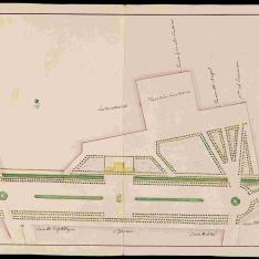 Plano de los Paseos del Prado, Recoletos y Atocha de Madrid