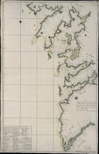 Plano Geométrico de los Puertos y Costa desde la Ria de Muros hasta el Rio Miño
