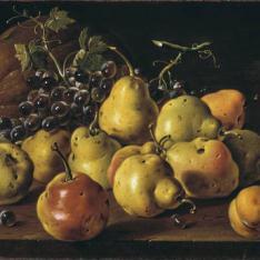 Bodegón: membrillos, melocotones, uvas y calabaza