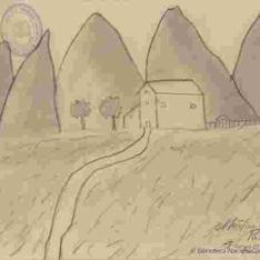 Paisaje con montañas y casa