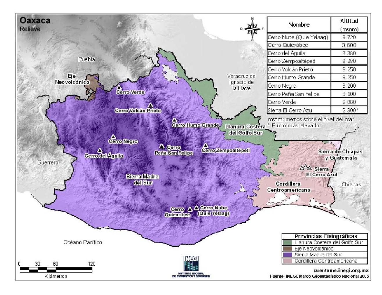 Mapa en color de montañas de Oaxaca. INEGI de México