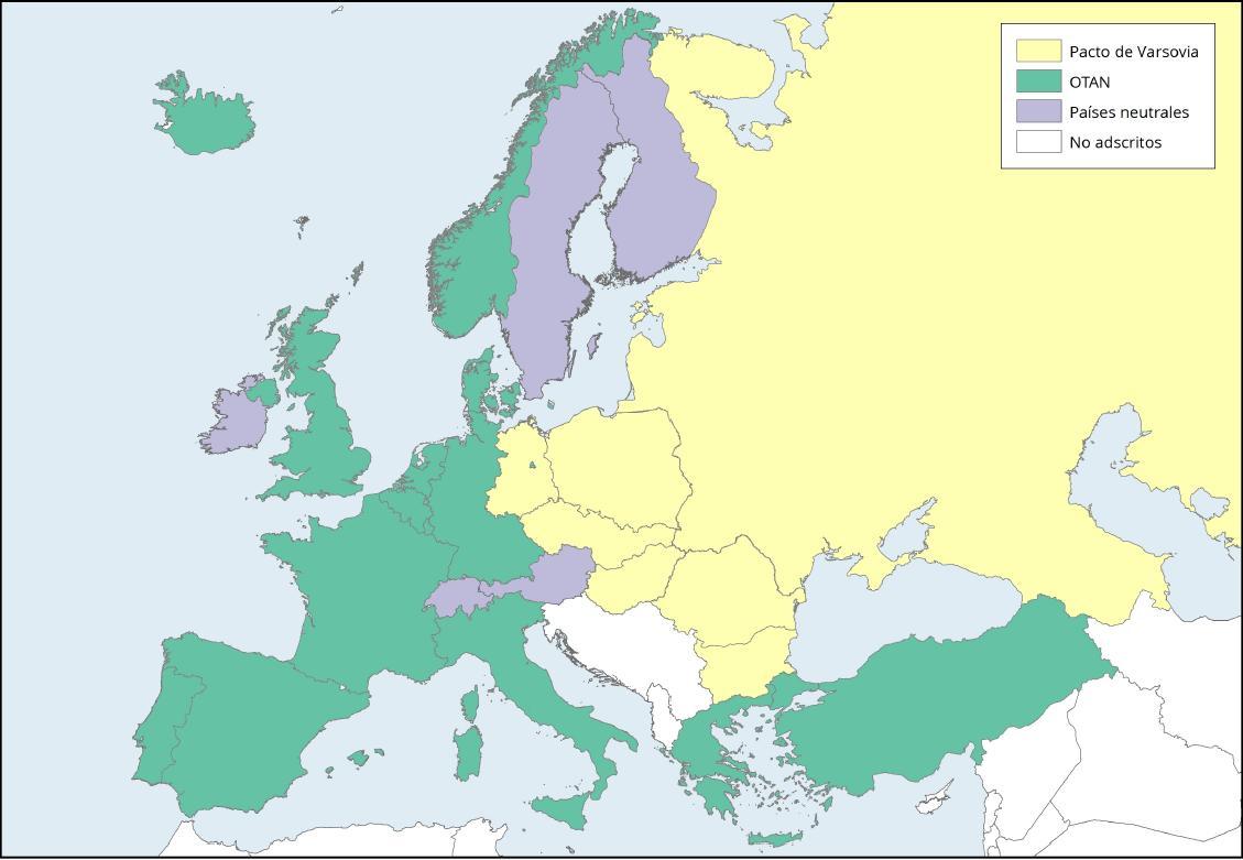 Mapa de Europa: Organizaciones de Defensa y Seguridad OTAN y Pacto de Varsovia. Learn Europe