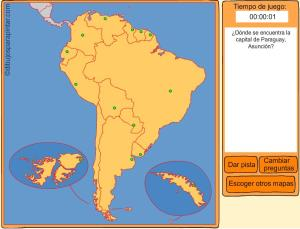 Capitales de países de Sudamérica. Dibujos para pintar