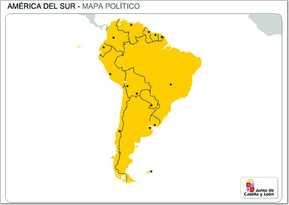 Mapa de países y capitales de Sudamérica. JCyL