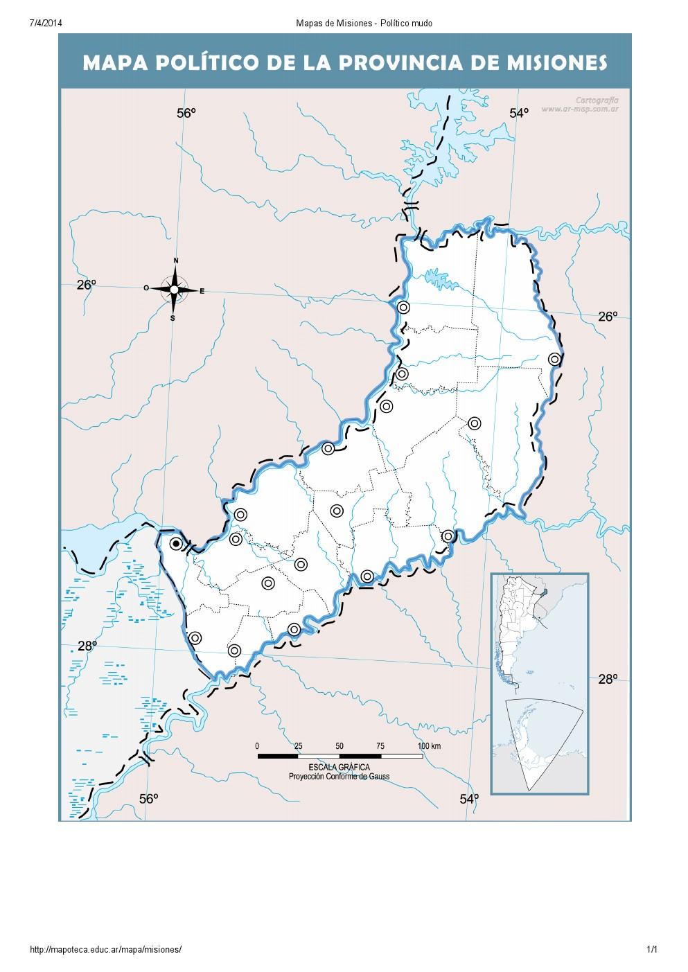 Mapa mudo de capitales de Misiones. Mapoteca de Educ.ar
