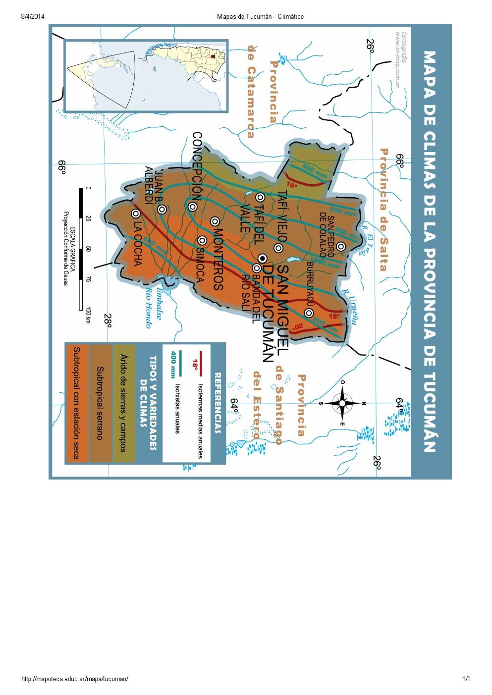 Mapa climático de Tucumán. Mapoteca de Educ.ar