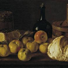 Bodegón: pan, peros, queso y recipientes