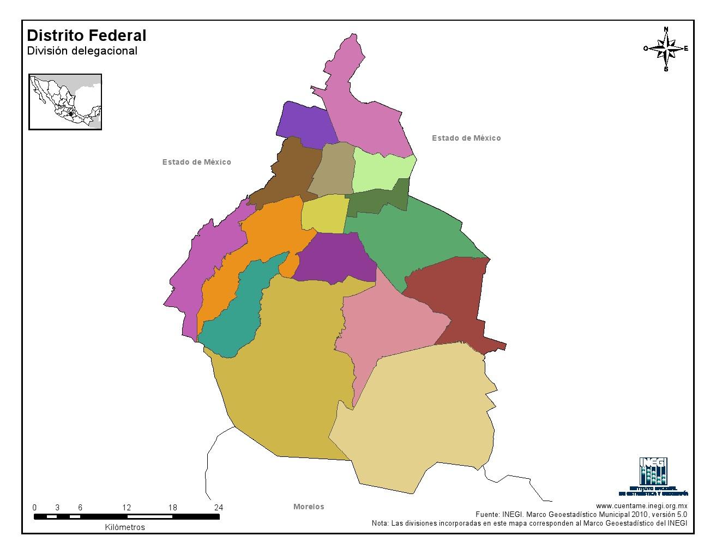 Mapa mudo de municipios de Ciudad de México. INEGI de México