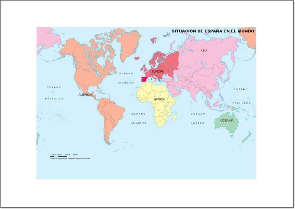 Mapa de continentes y océanos del Mundo. IGN