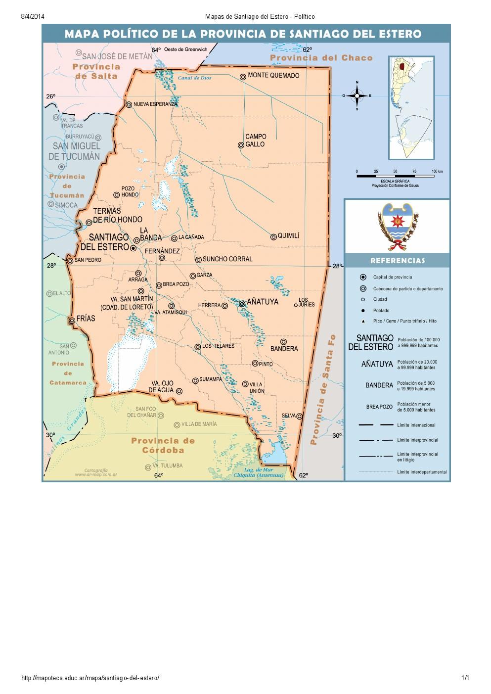 Mapa de capitales de Santiago del Estero. Mapoteca de Educ.ar