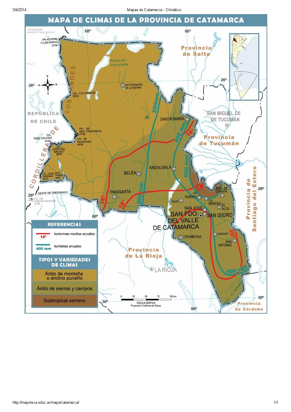 Mapa climático de Catamarca. Mapoteca de Educ.ar