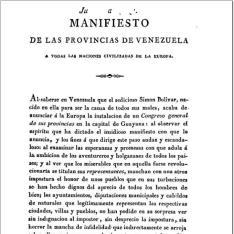Manifiesto de las provincias de Venezuela a todas las naciones civilizadas de la Europa
