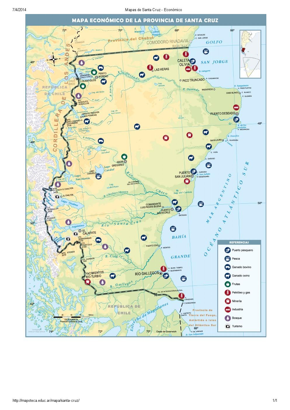 Mapa económico de Santa Cruz. Mapoteca de Educ.ar