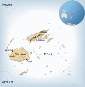 Mapa de ciudades de Fiyi. GRID-Arendal