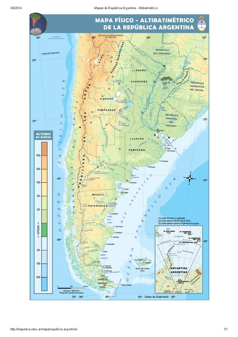 Mapa altibatimétrico de Argentina. Mapoteca de Educ.ar