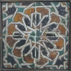 Paño de cuatro azulejos de cuerda seca