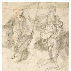 Dos figuras alegóricas, una de ellas con un niño en brazos