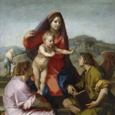 La Virgen con el Niño entre San Mateo y un ángel