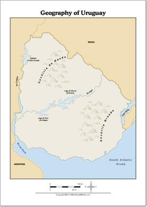 Mapa de ríos y montañas de Uruguay. WorksheetWorks