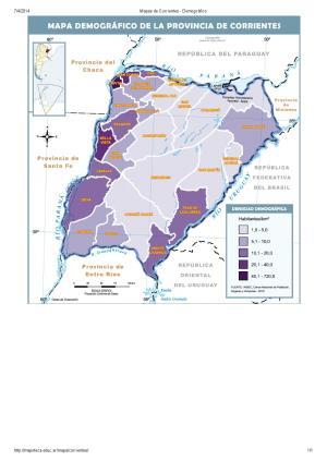 Mapa demográfico de Corrientes. Mapoteca de Educ.ar