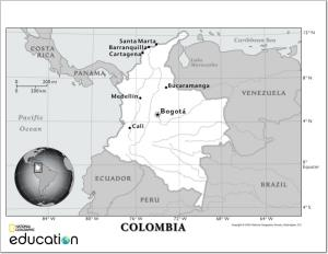Mapa de ríos de Colombia. National Geographic