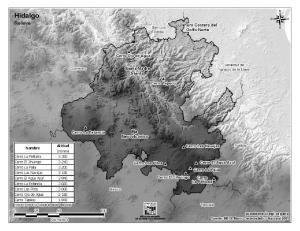 Mapa de montañas de Hidalgo. INEGI de México