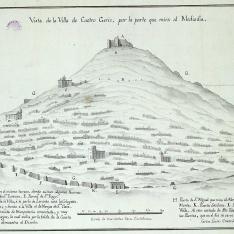 Vista de la Villa de Castro Geriz, por la parte que mira al Mediodía