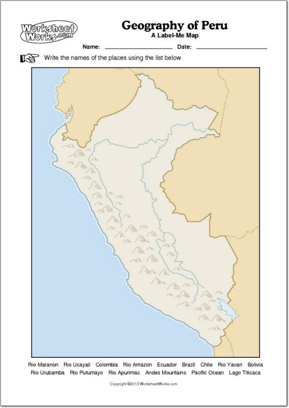 Mapa mudo de ríos y montañas de Perú. WorksheetWorks