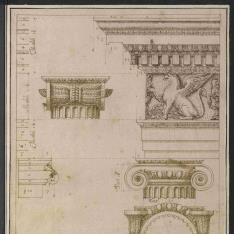 Capitel y entablamento del orden jónico