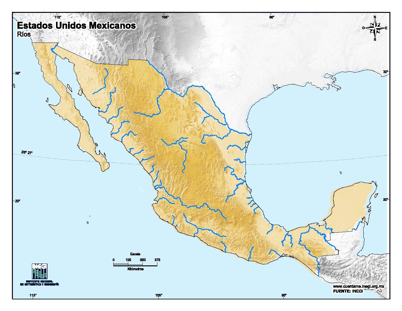 Mapa mudo de ríos de México. INEGI de México