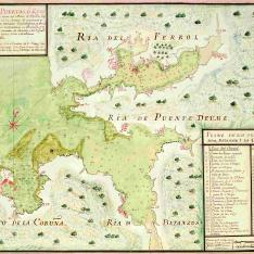 Plano de los tres puertos Ferrol, Betanzos i La Coruña