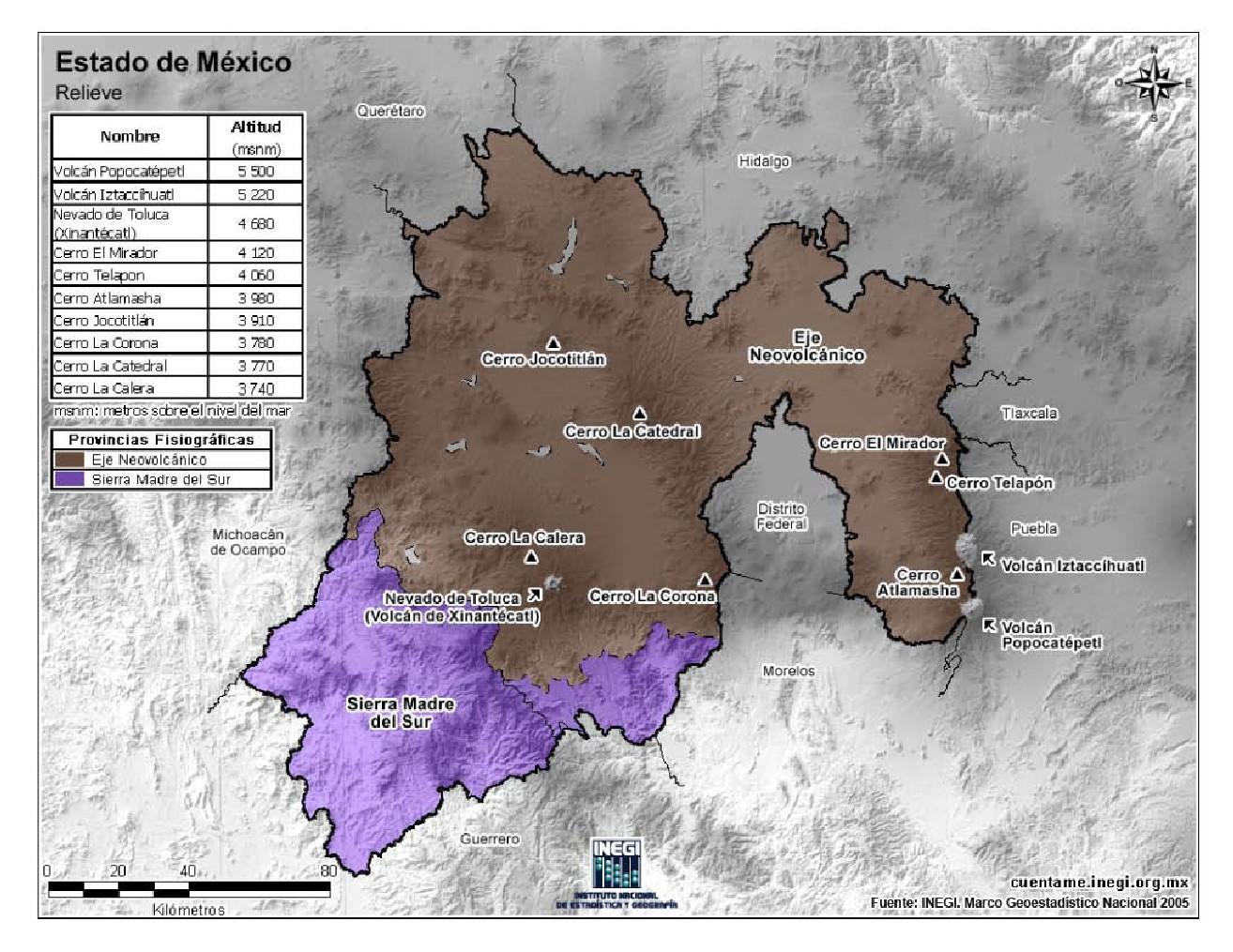 Mapa en color de montañas del Estado de México. INEGI de México