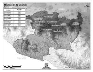 Mapa de montañas de Michoacán de Ocampo. INEGI de México