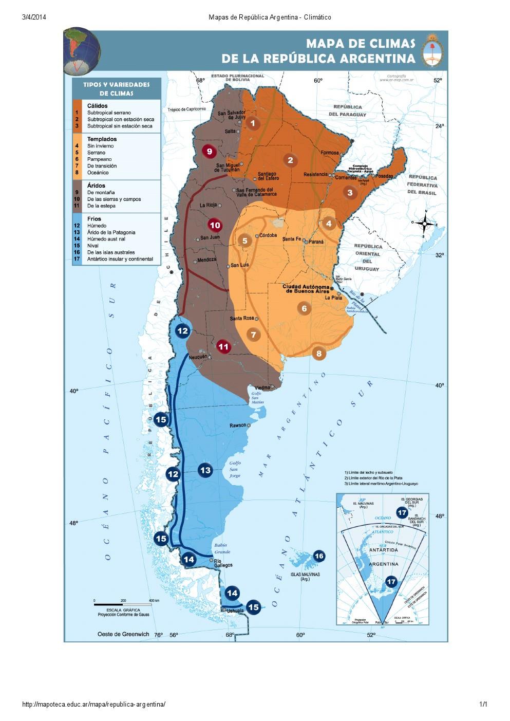 Mapa climático de Argentina. Mapoteca de Educ.ar