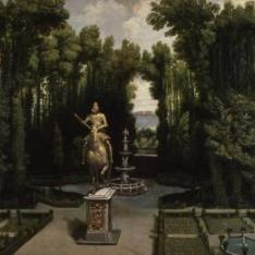 Vista de los jardines de la Casa de Campo con la estatua de Felipe III