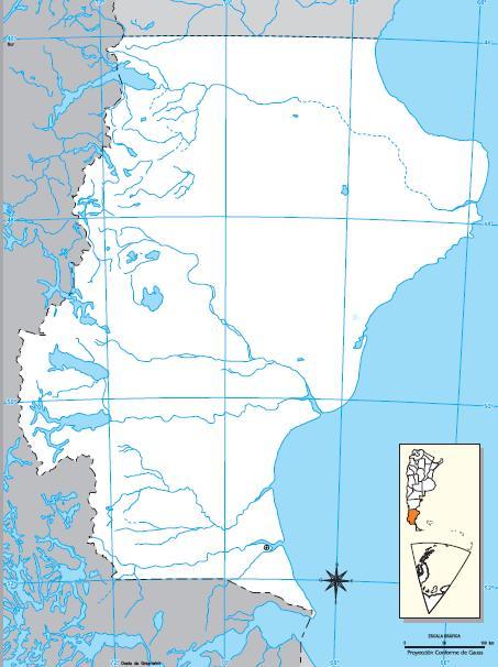 Mapa mudo de Santa Cruz. IGN de Argentina